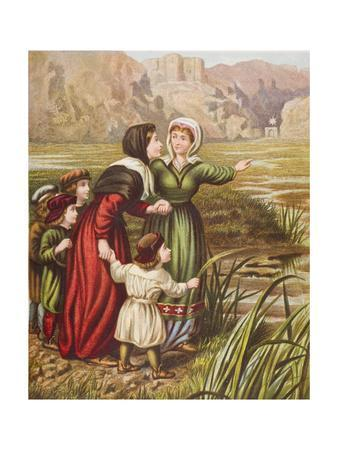 Christiana and Mercy at the Slough of Despond, Illustration from 'The Pilgrim's Progress' by John…