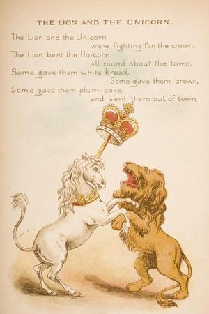 The Lion and the Unicorn, from of 'Old Mother Goose's Rhymes and Tales', Published by Frederick…