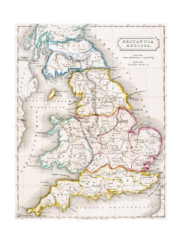 Geography Map Of England.Map Of England Britannia Antiqua From The Atlas Of Ancient