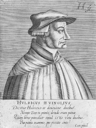 Portrait of Huldrych Zwingli, Published by Hondius, 1588-1649