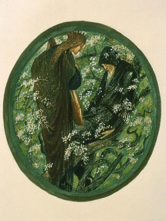 Nimue Beguiling Merlin with Enchantment, Plate Xv from 'The Flower Book'