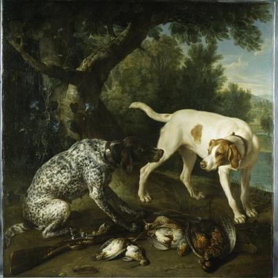Two Pointers Belonging to the 3rd Earl of Burlington with Dead Game in a Landscape, 1713