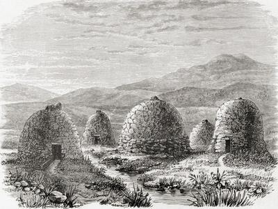 Inhabited Huts on Uig, Island of Lewis in the Outer Hebrides in 1859, from 'scottish Pictures…
