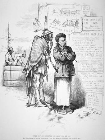 Cartoon Published in 'Harper's Weekly', on the White American Fear That the Chinese Will Crowd…