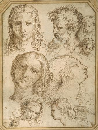 Head Studies: a Woman, an Angel, a Youth and a Bearded Man