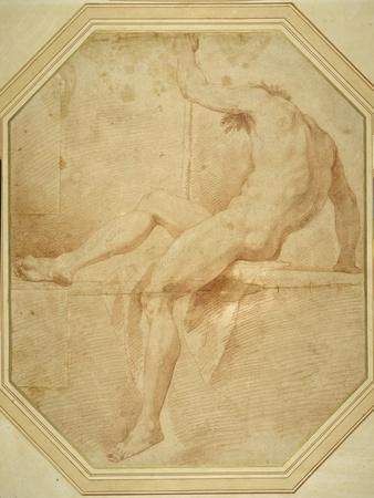 Nude Seated and Turning Away, Grasping a Staff in His Left Hand