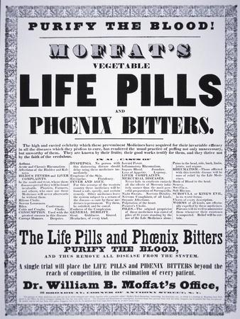 Advertisement for 'Moffat's Vegetable Life Pills and Phoenix Bitters', C.1860
