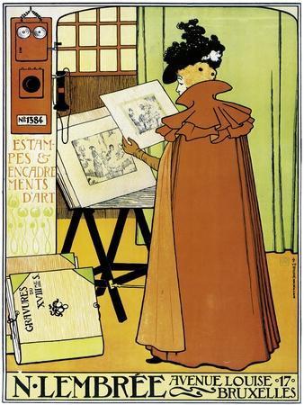 Poster Advertising 'N. Lembree' Art Shop, Brussels, 1898