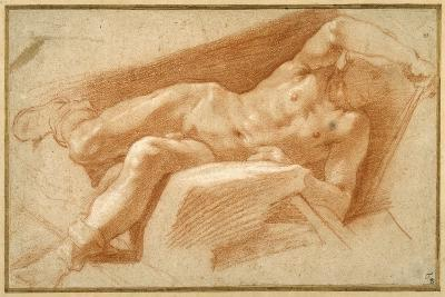 Recumbent Youth Posed Nude, Except for His Hose Pulled Down to His Ankles