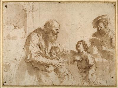 Two Boys Comforted by a Bearded Elder, While Another Bearded, Middle-Aged Man Reads a Book