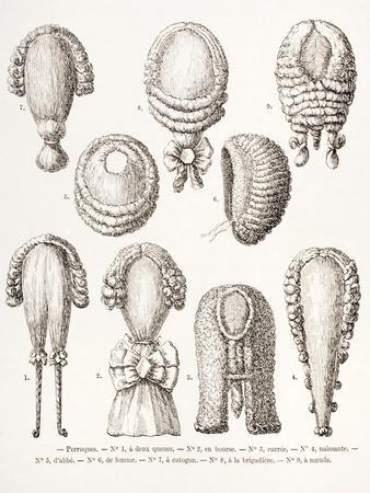 A Collection of Men's and Women's 18th Century Wigs, 1875