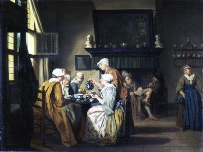 Bourgeois Interior with Ladies Drinking Tea, a Man Reading by the Fireplace