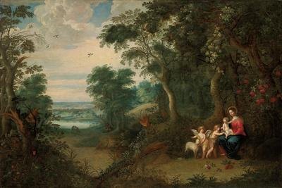 A Wooded Landscape with the Virgin and Child, Infant St. John the Baptist and an Angel