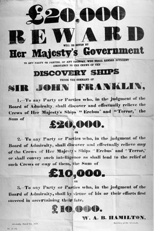 Poster Offering a Reward for the Discovery of the Lost Franklin Artic Expedition, 1850