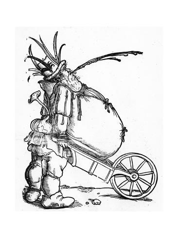 A Fat Man And A Wheelbarrow C 1521 Giclee Print By Hans Weiditz At