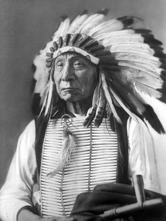 Red Cloud, Dakota Chief, Wearing a Headdress, 1880s