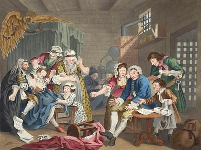 The Rake in Prison, Plate Vii, from 'A Rake's Progress', Illustration from 'Hogarth Restored: the…