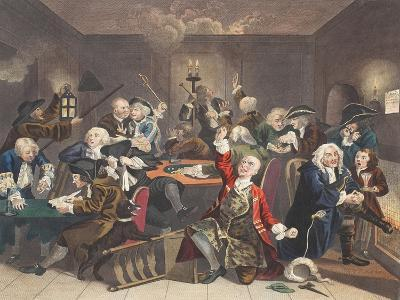 Scene in a Gaming House, Plate VI from 'A Rake's Progress, Illustration from 'Hogarth Restored:…