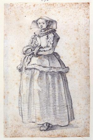 Figure with Fur-Trimmed Dress