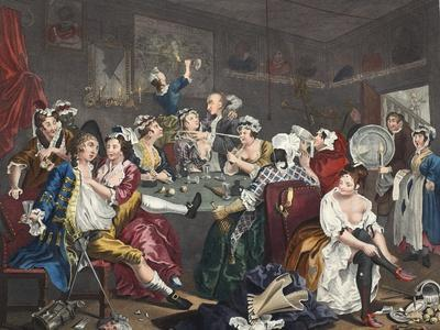 The Orgy, Plate III from 'A Rake's Progress', Illustration from 'Hogarth Restored: the Whole…