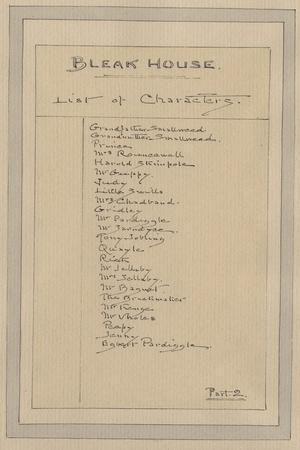 List of Characters, C.1920s