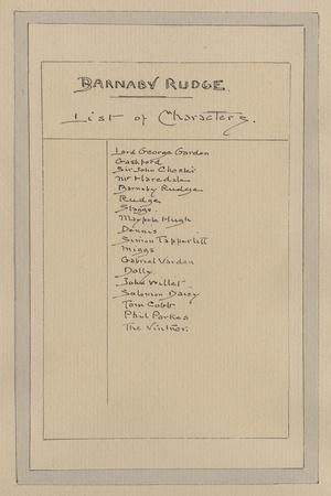 List of Characters for Barnaby Rudge, C.1920s