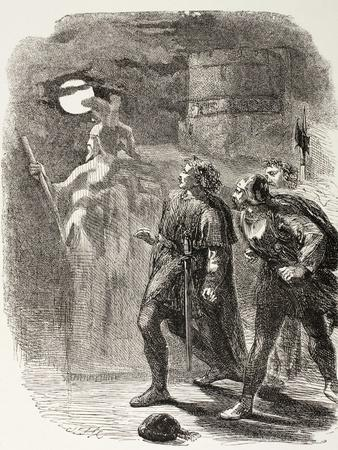 Hamlet, Horatio and Marcellus See the Ghost, from 'The Illustrated Library Shakespeare',…