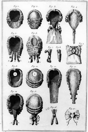 Illustrations of Various Wig Fashions, Plate Vii, Vol.8, from 'Encyclopedie Des Sciences Et…