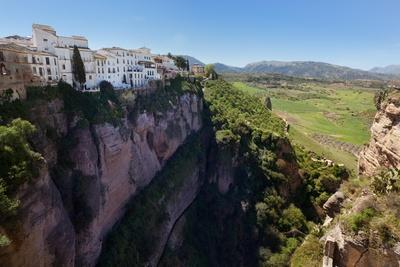Ronda, Malaga Province, Spain. Part of the Old City Sitting on the Edge of the Tajo Gorge with…