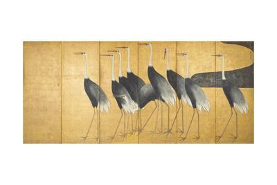 Six-Panel Screen Depicting Cranes, Edo Period