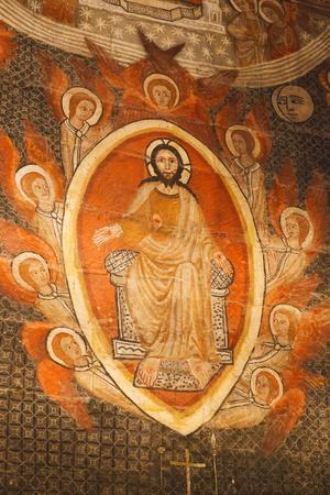 Salamanca, Salamanca Province, Spain. Christ Pantocrator Revealing His Wounds. Painting in the…