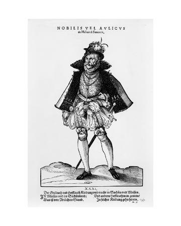 A Nobleman from Misnia and Saxonia, Illustration from 'trachtenbuch' by Hans Weigel, Published 1577
