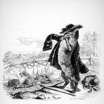 The Wolf Turned Shepherd, Illustration for 'Fables' of La Fontaine (1621-95), Published by H.…