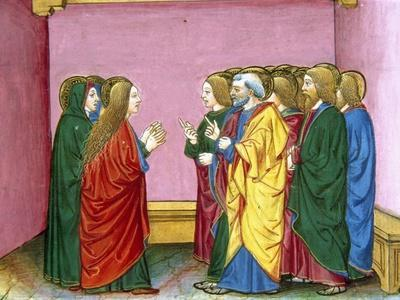 The Three Marys Announce to the Disciples That Jesus Has Risen. Codex of Predis (1476). Italy