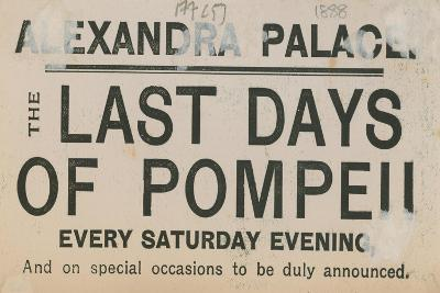 Ticket for the Last Days of Pompeii at the Alexandra Palace