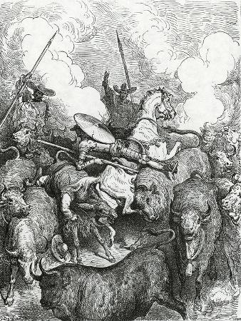 Don Quixote and Sancho in Front of the Bulls. Engraving