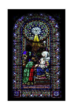 Epiphany. Stained Glass Window. Montserrat Abbey. Catalonia. Spain