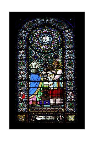 Presentation of Jesus at the Temple. Stained Glass Window. Montserrat Abbey. Catalonia. Spain