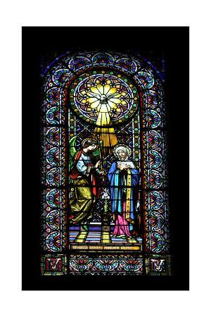 Annunciation. Stained Glass Window. Montserrat Abbey. Catalonia. Spain