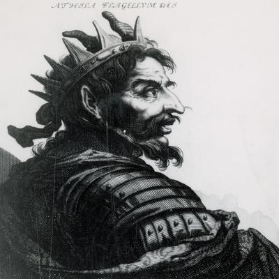 Attila (C. 385-453). Ruler of the Huns. Engraving