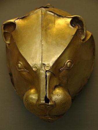 Mycenaean Art. Greece. Rhyton as Lion's Head Embossed in Gold Foil