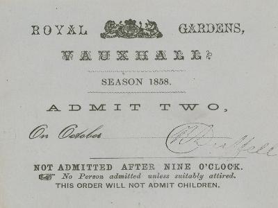 Season Ticket, Vauxhall Gardens, London