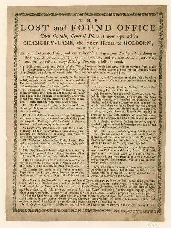 The Lost and Found Office, Chancery Lane, London