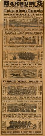 Advert for P T Barnum's Greatest Show on Earth