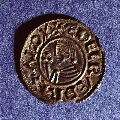 Silver Penny of Ethelred II (978-1016) Crvx (Crux) Type with Sceptre with Trefoil Head