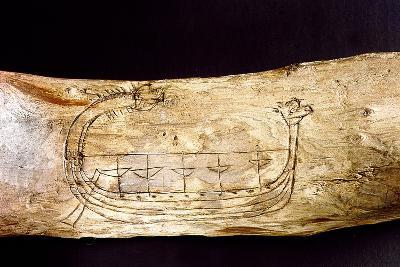 A Norse Ship Incised on a Piece of Wood