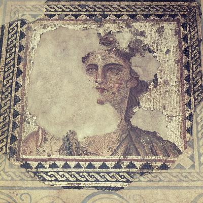 A Detail of a Mosaic Portrait of a Woman from the Roman Period in the Levant