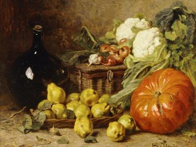 A Still Life with a Wine Flagon, a Basket, Pears, Onions, Cauliflowers, Cabbages, Garlic and a…