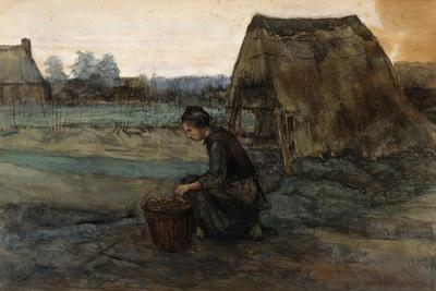 A Kneeling Peasant Woman in Front of a Hut; Paysanne Agenouillee Devant Une Cabane, 1883
