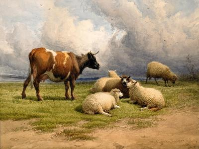 A Cow and Five Sheep, 1887